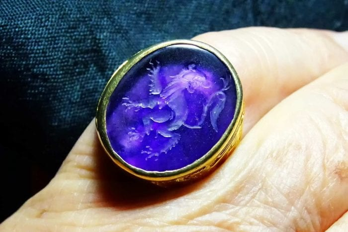 Lion ring - Amethyst - Regnas Jewelry