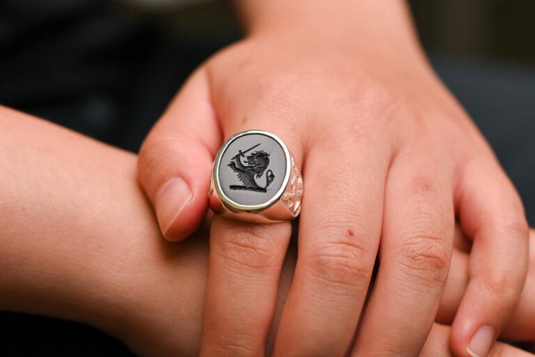 Black Onyx Lion Family Crest Ring