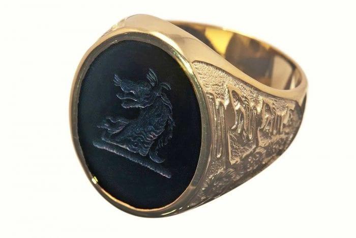 Black Onyx lion ring - Regnas Jewelry