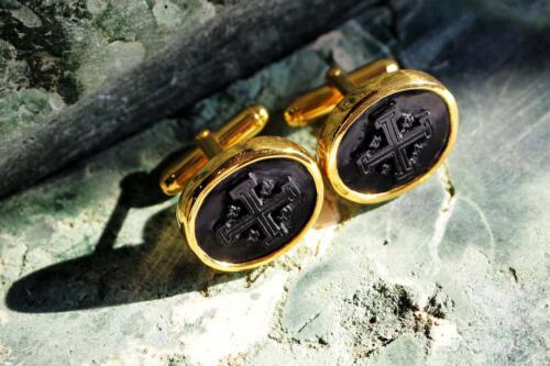Jerusalem Cross Onyx Cufflinks - Gold Plated Sterling Silver 925