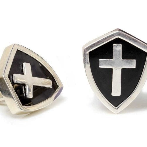 Christian Cross cufflinks - Black Onyx - Shield shapes - Silver