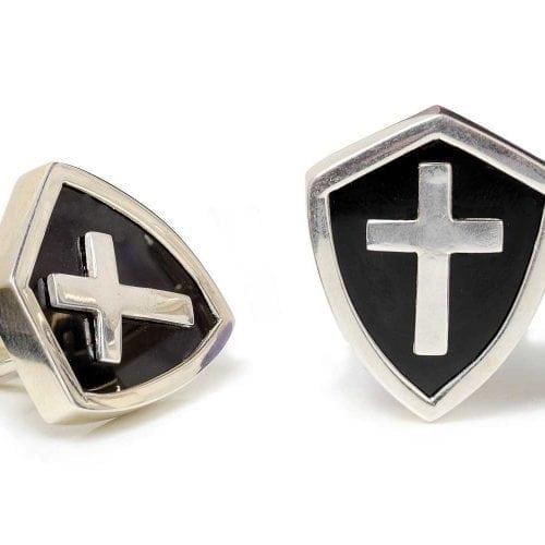 Christian Cross cufflinks - Black Onyx - Shield shapes - Silver