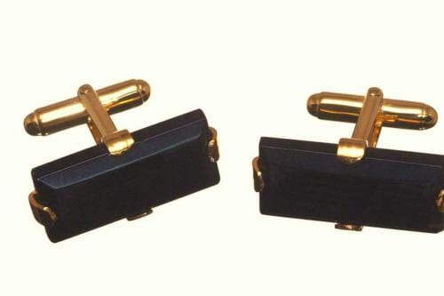 Stone Cufflinks - Black Onyx - Rectangles - Gold