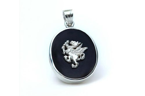 Black Onyx Griffin Pendant - Sterling Silver