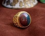 Bloodstone Ring with oriental flowers