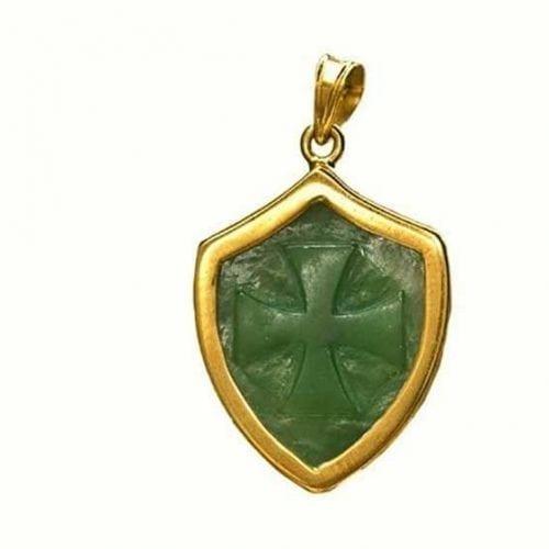 Canada Jade pendant - Templar Cross - Gold Plated