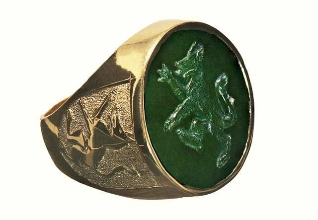 Carved Jade Wolf Ring