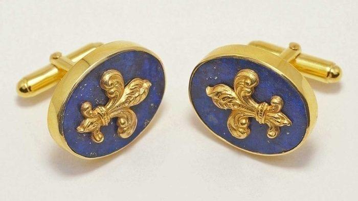 Fleur De Lis lapis Cufflinks - gold