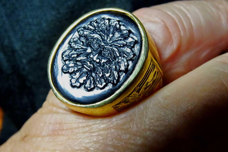 black onyx Celtic ring
