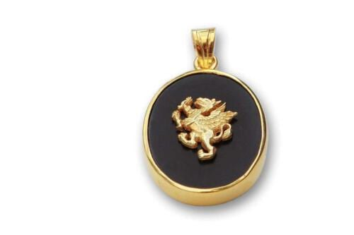 Griffin Pendant - Black Onyx - Gold