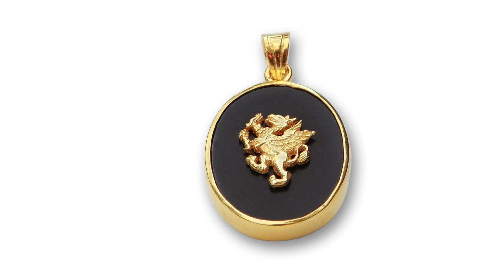 Griffin pendant black onyx gold plated regnas designer pendants griffin pendant black onyx gold aloadofball Image collections