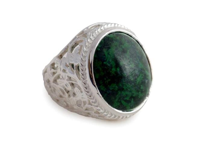 jade albite cabochon ring flowers silver 21x18