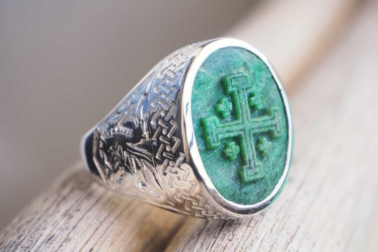 mens Jerusalem Cross Ring