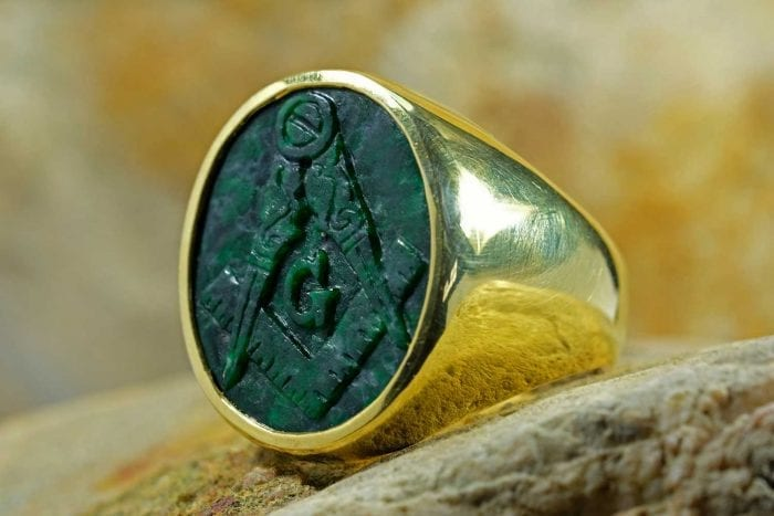 Jade Masonic Ring - Regnas Jewellery