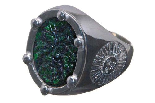 Jade Mans Ring - Green Man - Carved - Sterling Silver