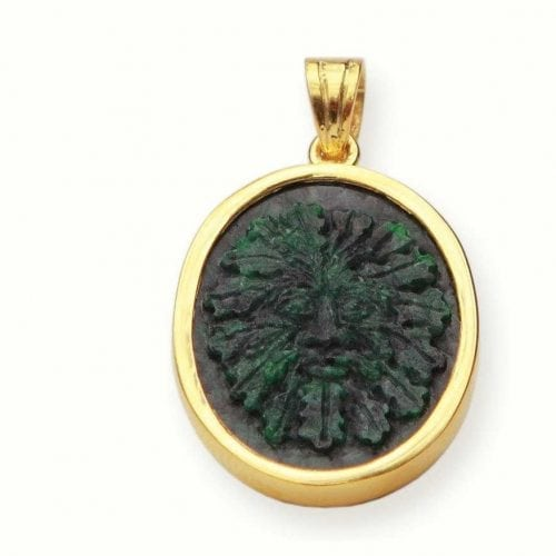 Jade pendant featuring the Green man