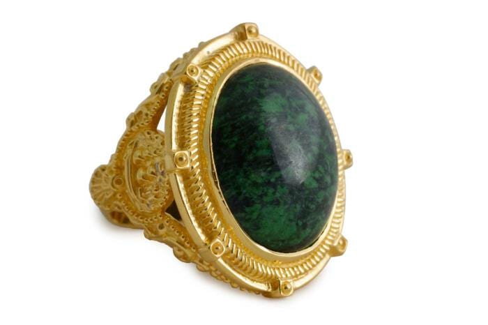 Jade Stone Ring -Cabochon - maritime theme