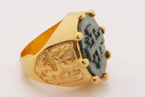 Jerusalem Cross Ring - Jade Albite - Gold Plated Sterling Silver