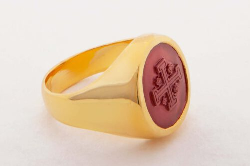 Jerusalem Cross Ring On Red Agate Set To Gold Plated Sterling Silver