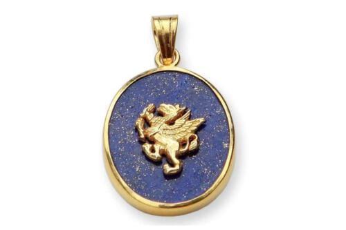 Lapis Lazuli overlaid griffin pendant