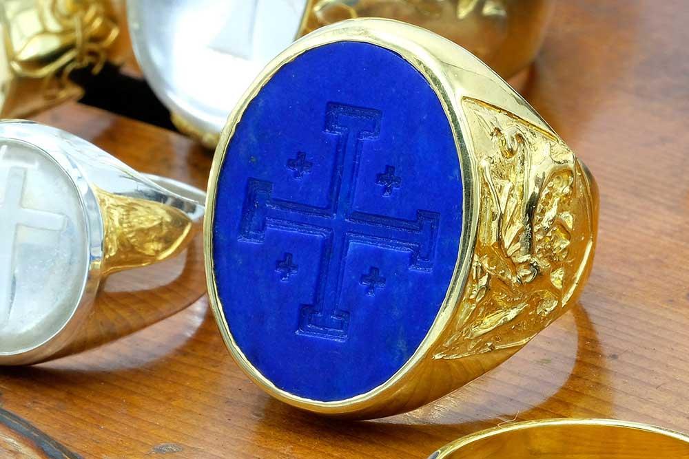 Lapis Jerusalem Cross ring - Regnas Jewelry