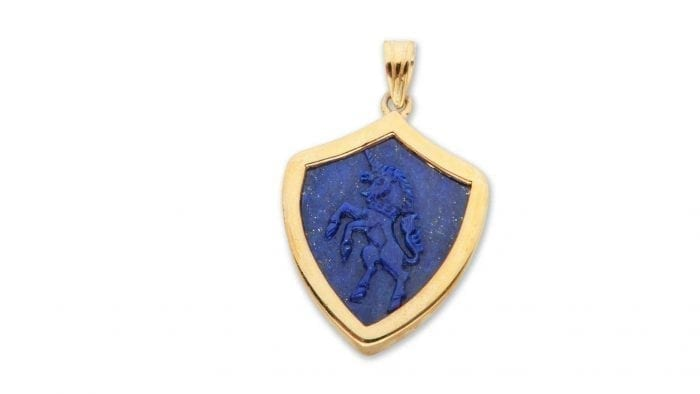 Lapis pendant with Unicorn