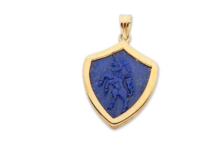 Lapis pendant with Unicorn
