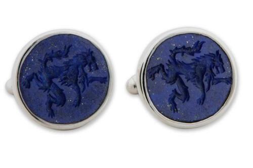 heraldic lapis Wolf cufflinks - Silver