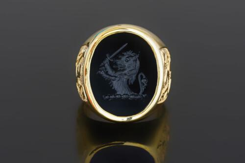 Engraved Lion Ring