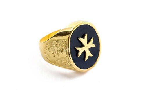Maltese Cross Ring - Black Onyx Signet Ring