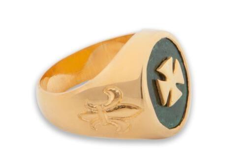 Jade Templar Cross Ring - Overlaid Design - Gold Plated Sterling Silver
