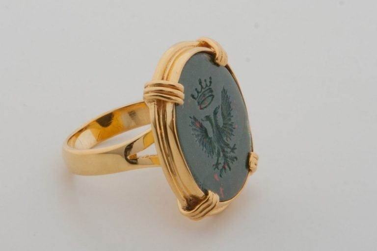 Bloodstone Eagle Ring - Gold Plated Sterling Silver