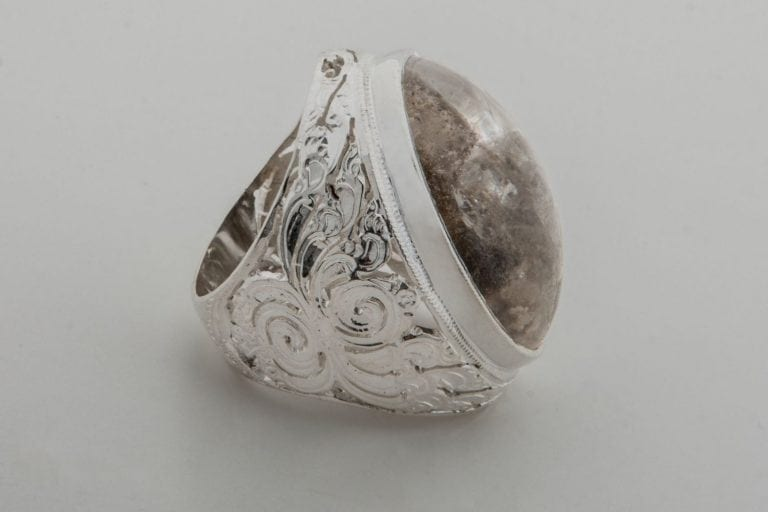 Rock Crystal Ring Special Unique Traditional Cabochon Oriental Style Sterling Silver 925