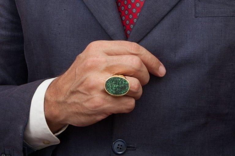 Jade Ring Large Genuine Gemstone Hand Carved Jerusalem Cross Signet Gold Plated Sterling Silver 925