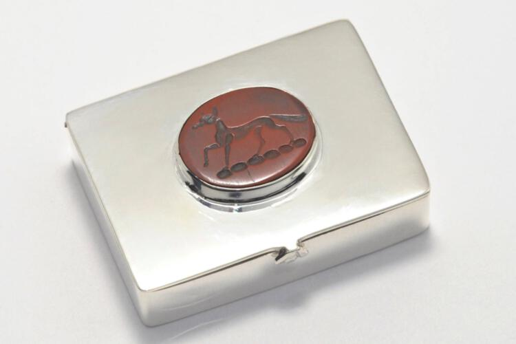 Silver Box Red Jasper Pillbox Unique Engraved Stone Solid Sterling Silver 925