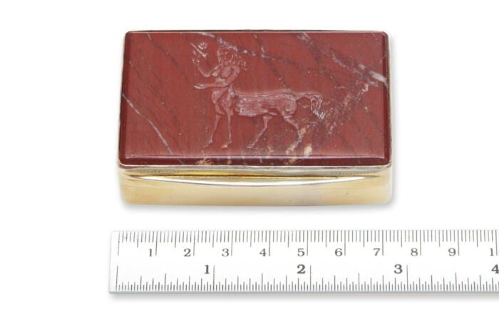 Red Jasper Snuffbox Unique Engraved Lid Gold Plated Sterling Silver 925