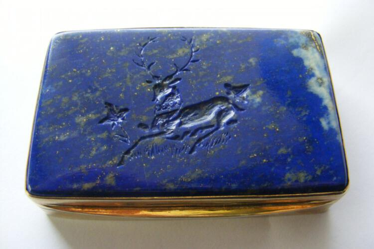 Lapis Snuffbox Unique Deer Engraved Solid Gold Plated Sterling Silver 925