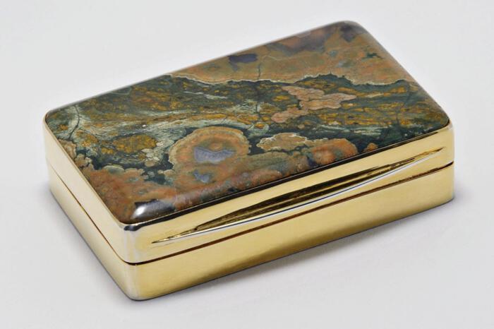 Spherolite Rhiolite Snuffbox Unique Gold Plated Sterling Silver Gift Below Cost Price 925
