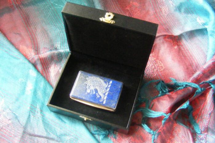 Lapis Snuffbox Unique Family Crest Lion Engraved Sterling Silver 925