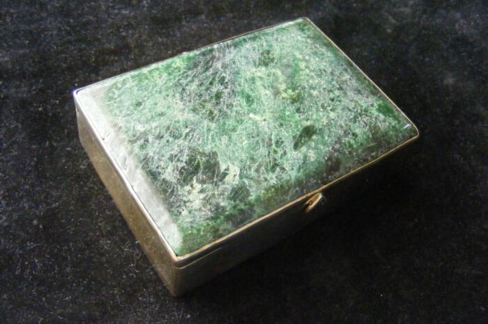 Jade Albite Cardcase Unique Gold Plated Sterling Silver Gift Below Cost Price 925