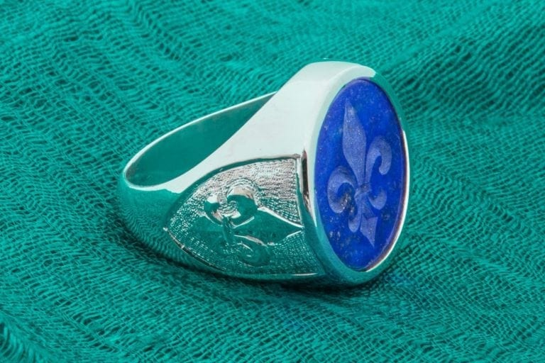 Lapis Fleur De Lys Ring Fine Intaglio Genuine Gemstone Sterling Silver 925