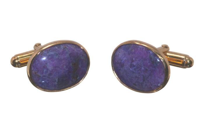 Sigurite Cufflinks Unique Hand Crafted Medium Genuine Gemstone Gold Plated Sterling Silver 925