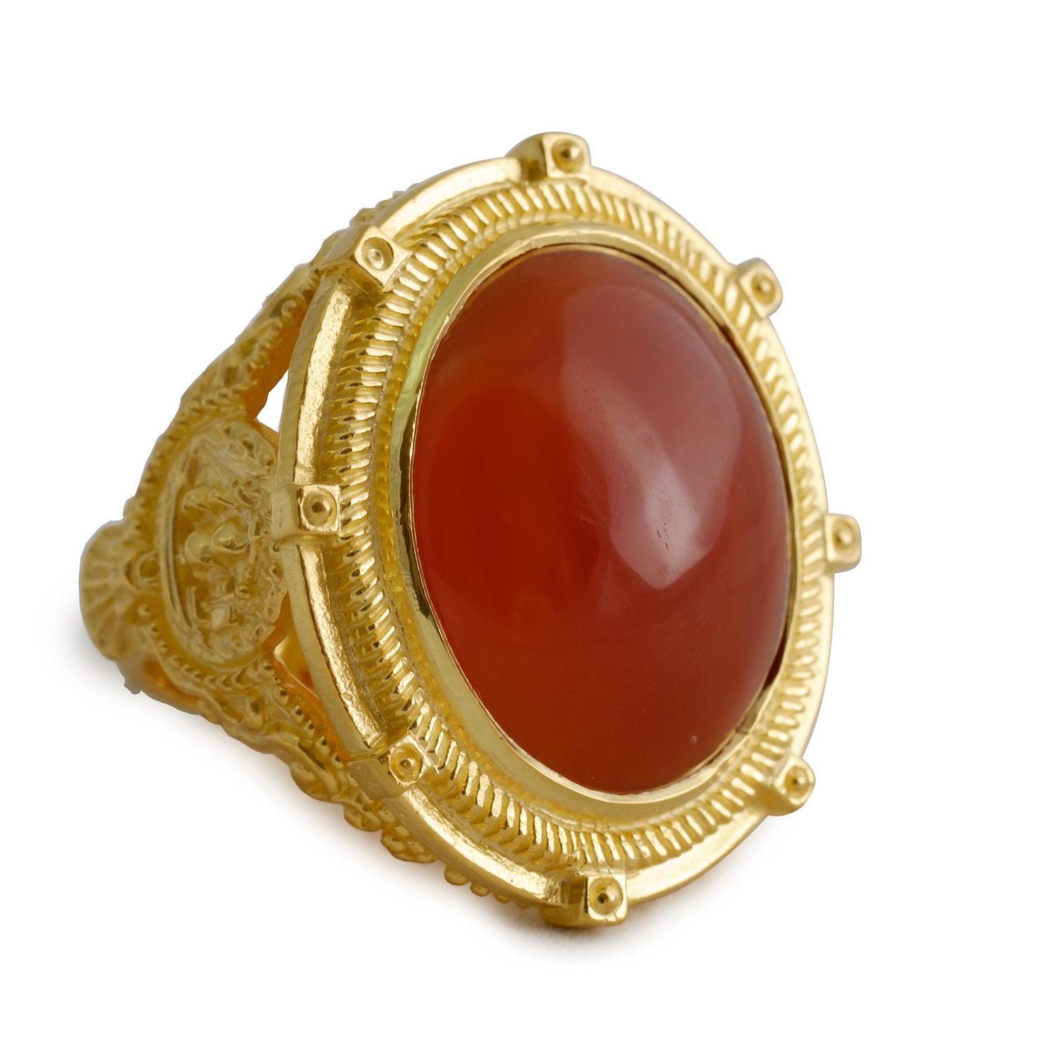 Red Agate cabochon ring - Regnas Jewelry