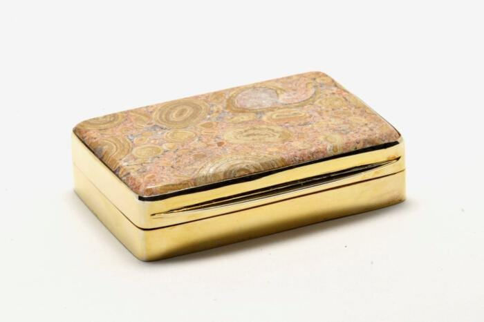 Fossil Stone Snuffbox Unique Gold Plated Sterling Silver Gift Below Cost Price