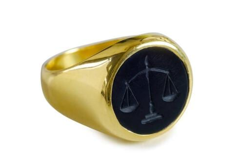 Gold Plated Black Onyx Lawyers Ring