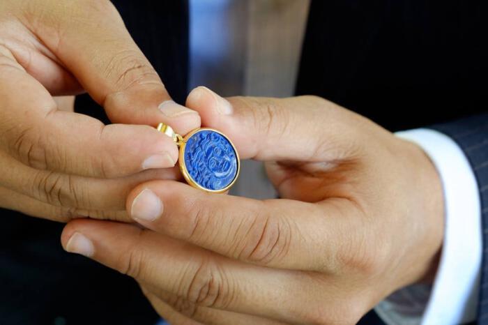 Greek Goddess Pendant Lapis Handmade Gold Plated Sterling Silver 925