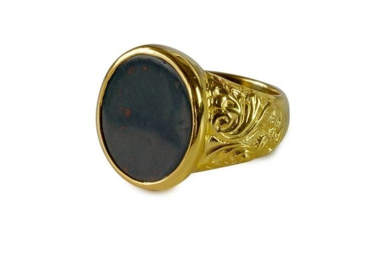 Bloodstone Ring Quality Stone Dignified Regnas Edwardian Style Gold Plated Sterling Silver 925