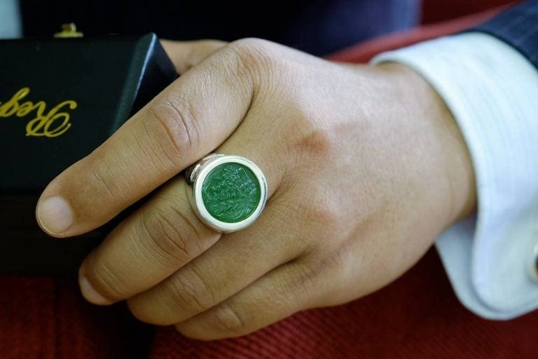 Jade Zeus Cameo Ring - Sterling Silver 925