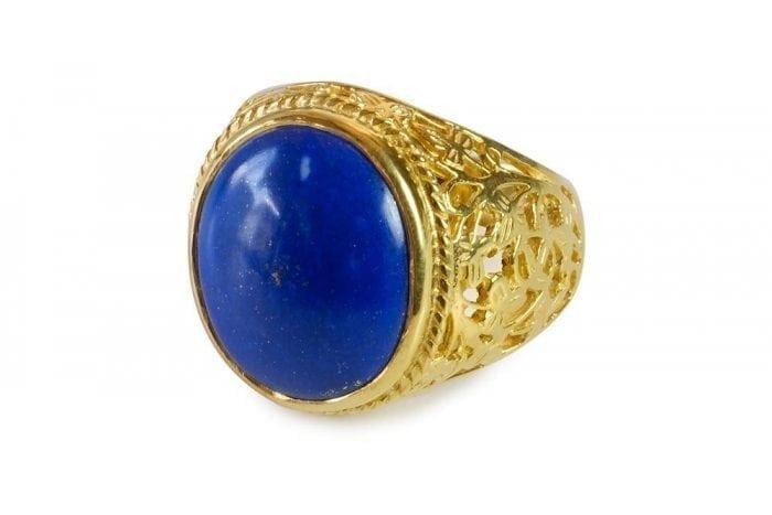 Lapis lazuli cabochon ring