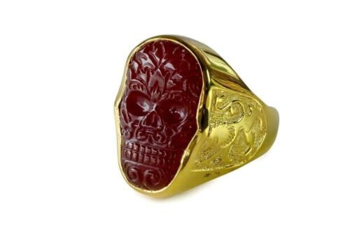 Red Agate skull ring - Regnas Jewelry
